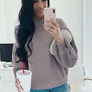 RP purple puff sleeve sweater.